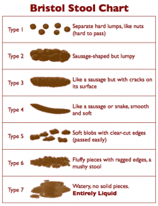 Bristol Stool Chart shows the 7 types of bowel movements to use as a guide when discussing with gastroenterologist in Plano, TX